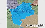 Political 3D Map of Sliven, semi-desaturated