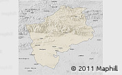 Shaded Relief 3D Map of Sliven, desaturated