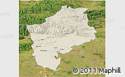 Shaded Relief 3D Map of Sliven, satellite outside