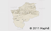 Shaded Relief 3D Map of Sliven, single color outside