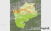 Physical Map of Sliven, darken, semi-desaturated