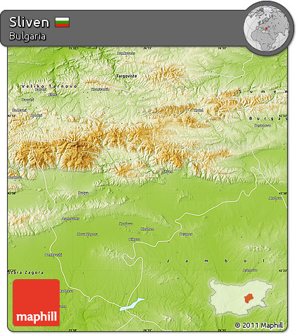 Physical Map of Sliven