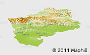 Physical Panoramic Map of Sliven, single color outside