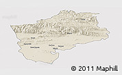 Shaded Relief Panoramic Map of Sliven, cropped outside