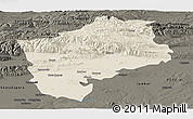 Shaded Relief Panoramic Map of Sliven, darken
