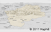 Shaded Relief Panoramic Map of Sliven, desaturated