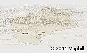 Shaded Relief Panoramic Map of Sliven, lighten