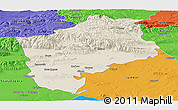 Shaded Relief Panoramic Map of Sliven, political outside