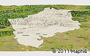 Shaded Relief Panoramic Map of Sliven, satellite outside