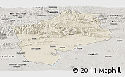 Shaded Relief Panoramic Map of Sliven, semi-desaturated