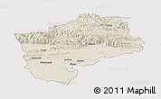 Shaded Relief Panoramic Map of Sliven, single color outside