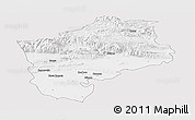Silver Style Panoramic Map of Sliven, single color outside