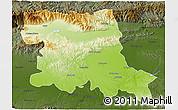 Physical 3D Map of Stara Zagora, darken