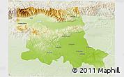 Physical 3D Map of Stara Zagora, lighten