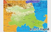 Physical 3D Map of Stara Zagora, political outside