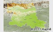 Physical 3D Map of Stara Zagora, semi-desaturated