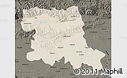 Shaded Relief Map of Stara Zagora, darken