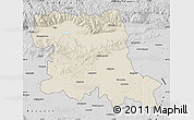 Shaded Relief Map of Stara Zagora, desaturated