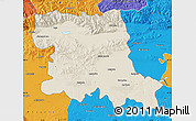 Shaded Relief Map of Stara Zagora, political outside