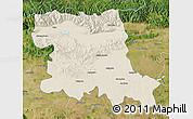Shaded Relief Map of Stara Zagora, satellite outside