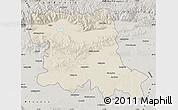 Shaded Relief Map of Stara Zagora, semi-desaturated