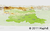 Physical Panoramic Map of Stara Zagora, lighten