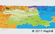 Physical Panoramic Map of Stara Zagora, political outside