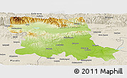 Physical Panoramic Map of Stara Zagora, shaded relief outside