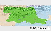 Political Panoramic Map of Stara Zagora, lighten