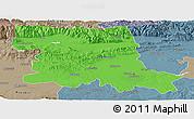 Political Panoramic Map of Stara Zagora, semi-desaturated