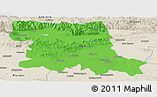 Political Panoramic Map of Stara Zagora, shaded relief outside