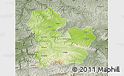 Physical Map of Targoviste, semi-desaturated