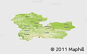 Physical Panoramic Map of Targoviste, single color outside