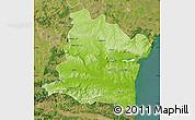 Physical Map of Varna, satellite outside