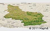 Satellite Panoramic Map of Veliko Tarnovo, shaded relief outside