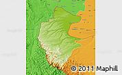 Physical Map of Vidin, political outside