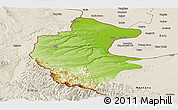 Physical Panoramic Map of Vidin, shaded relief outside