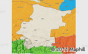Shaded Relief 3D Map of Vraca, political outside