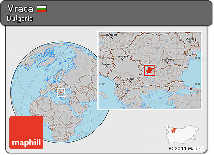 Gray Location Map of Vraca