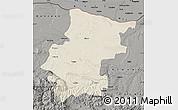 Shaded Relief Map of Vraca, darken, semi-desaturated
