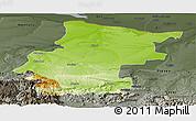 Physical Panoramic Map of Vraca, darken, semi-desaturated