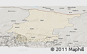 Shaded Relief Panoramic Map of Vraca, semi-desaturated