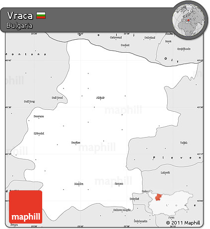 Silver Style Simple Map of Vraca