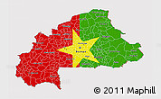Flag 3D Map of Burkina Faso, flag aligned to the middle