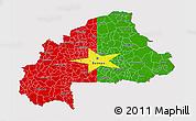 Flag 3D Map of Burkina Faso, flag rotated