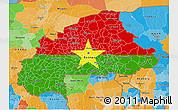 Flag 3D Map of Burkina Faso, political outside