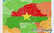 Flag 3D Map of Burkina Faso, political shades outside