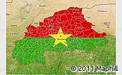 Flag 3D Map of Burkina Faso, satellite outside