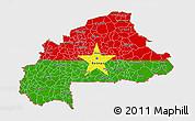 Flag 3D Map of Burkina Faso, single color outside, bathymetry sea