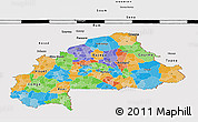 Political 3D Map of Burkina Faso, cropped outside